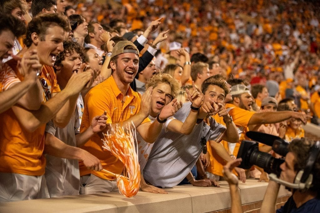 Tennessee fans urging on their team when Tennessee played Georgia in Neyland on Oct. 5. Photo/ Ben Gleason