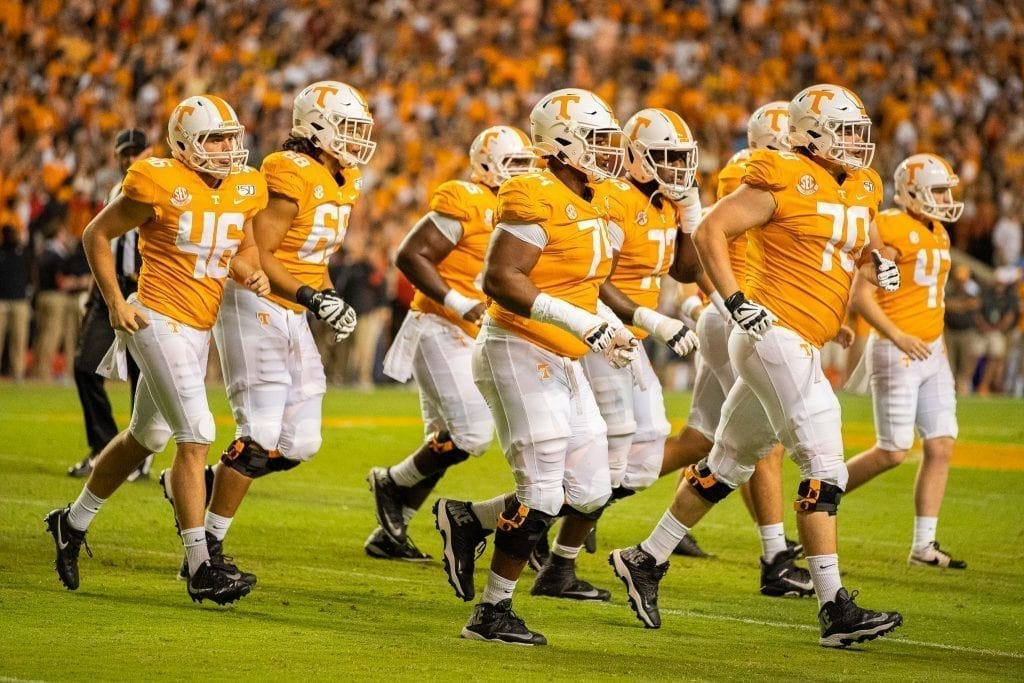 The Volunteers jog off the field when Tennessee played Georgia in Neyland on Oct. 5. Photo/ Ben Gleason
