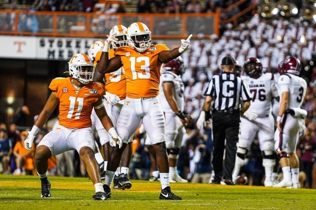 Linebackers Deandre Johnson (13) and Henry To'o To'o (11) react after a third down stop when Tennessee played South Carolina in Neyland Stadium on October 27, 2019. Photo/ Ben Gleason