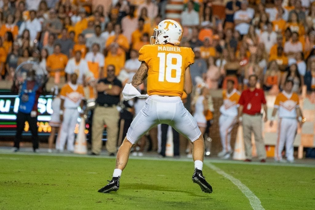 Quarterback Brian Maurer #18 drops back to pass when Tennessee played Georgia in Neyland on Oct. 5. Photo/ Ben Gleason