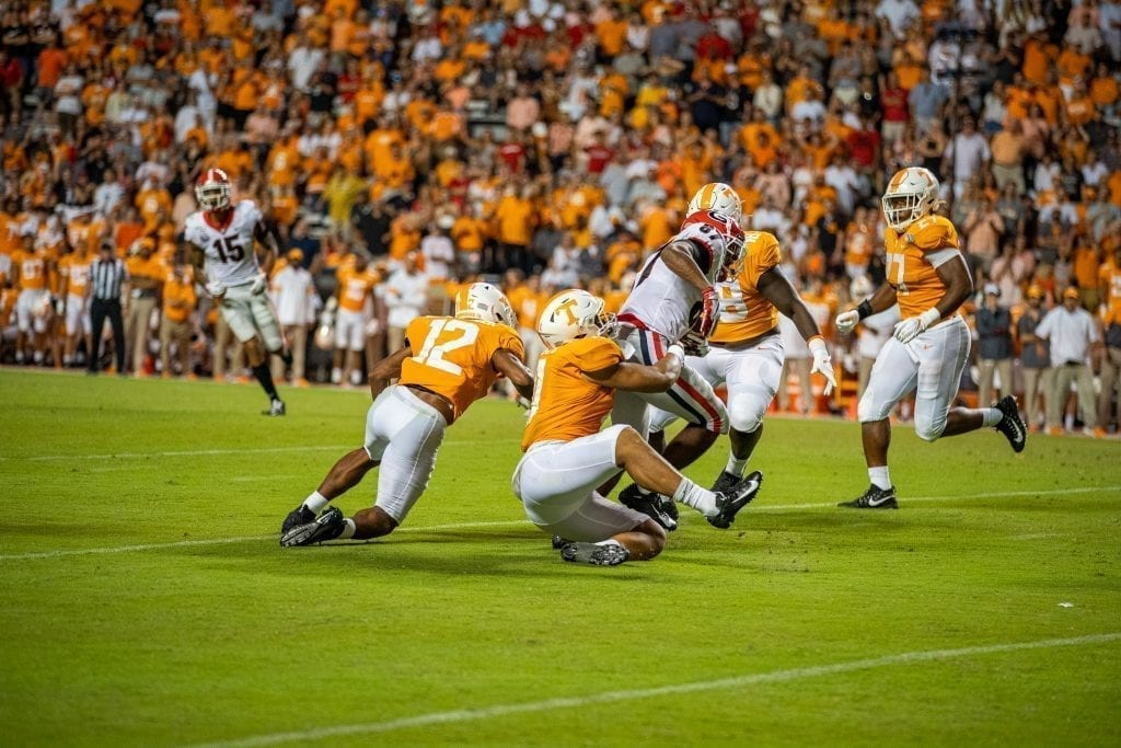 Linebacker Henry To'o To'o #11 wraps up a Georgia receiver when Tennessee played Georgia in Neyland on Oct. 5. Photo/ Ben Gleason
