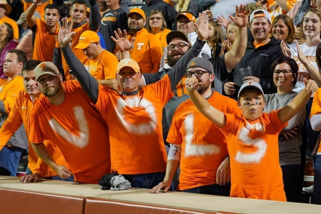 Tennessee fans sitting front row when Tennessee played South Carolina in Neyland Stadium on October 27, 2019. Photo/ Ben Gleason