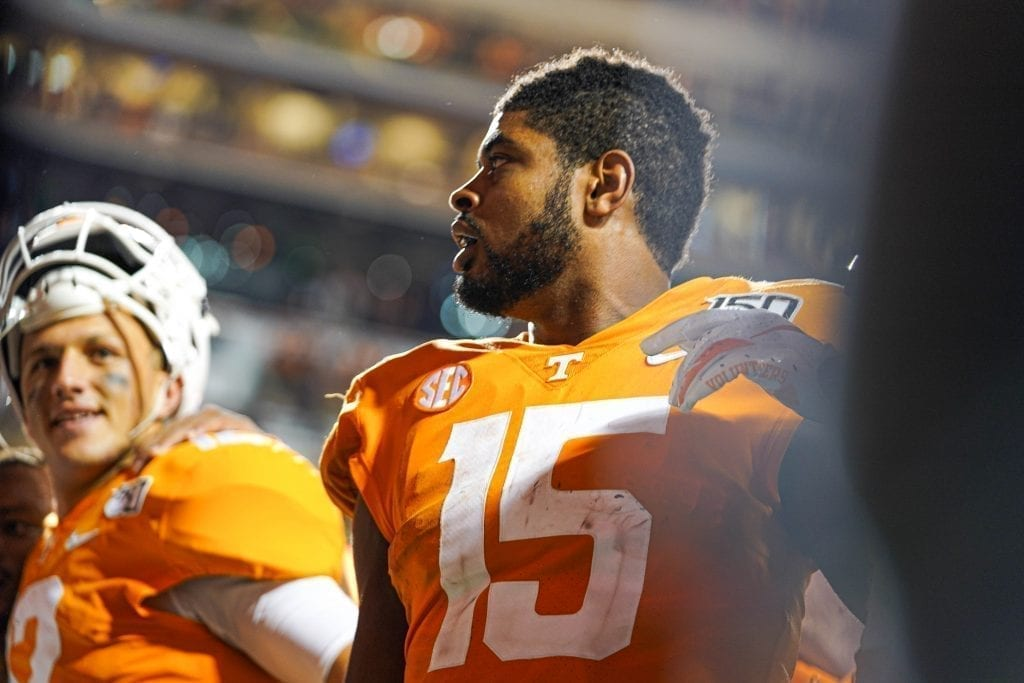 Jauan Jennings (15) after beating South Carolina with 174 receiving yards and two touchdowns when Tennessee played South Carolina in Neyland Stadium on October 27, 2019. Photo/ Ben Gleason