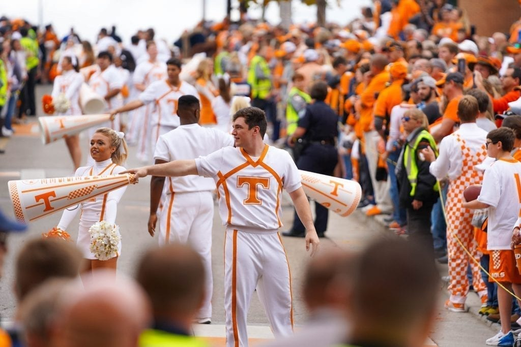 Tennessee cheerleaders during the Vol Walk when Tennessee played South Carolina in Neyland Stadium on October 27, 2019. Photo/ Ben Gleason