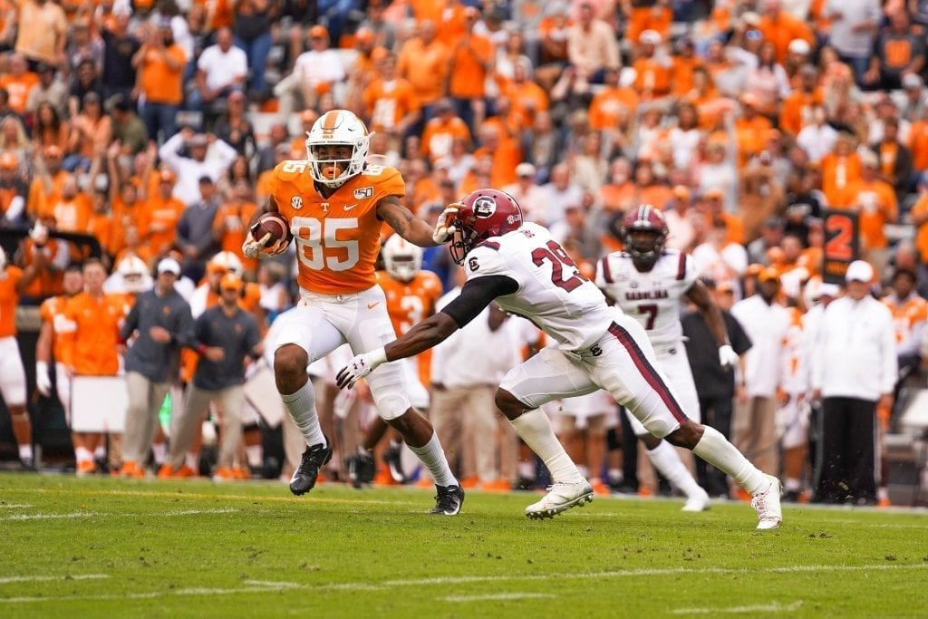 Tennessee wide receiver Cedric Tillman (85) still arms a Gamecock defender when Tennessee played South Carolina in Neyland Stadium on October 27, 2019. Photo/ Ben Gleason