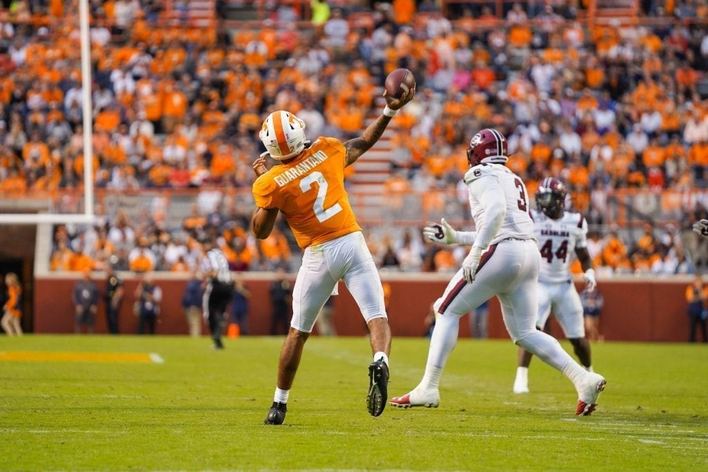 Tennessee quarterback Jarret Guarantano (2) heaves a deep pass when Tennessee played South Carolina in Neyland Stadium on October 27, 2019. Photo/ Ben Gleason