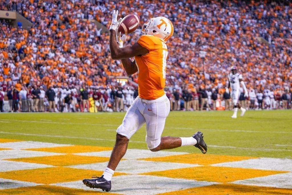 Tennessee wide receiver Jauan Jennings hauls in a touchdown pass when Tennessee played South Carolina in Neyland Stadium on October 27, 2019. Photo/ Ben Gleason