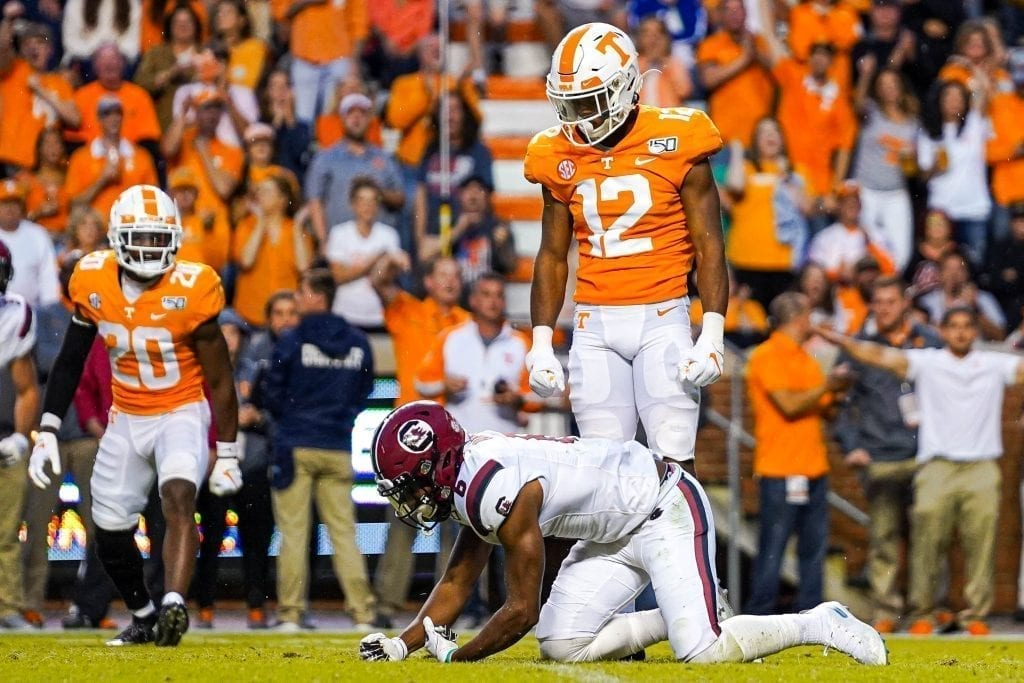 Tennessee defensive back Shawn Shamburger (12) stares down a South Carolina wide receiver after breaking up a pass when Tennessee played South Carolina in Neyland Stadium on October 27, 2019. Photo/ Ben Gleason