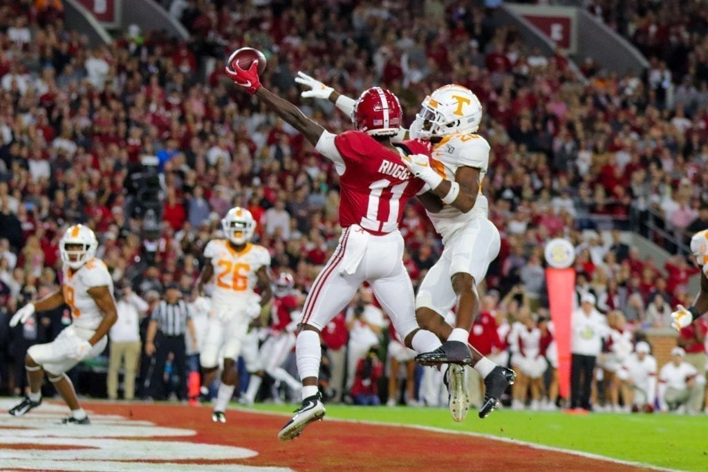 Alabama wide receiver Henry Ruggs III (11) reaches for a reception when Tennessee played Alabama in Tuscaloosa on Oct. 19, 2019. Photo/ Ben Gleason