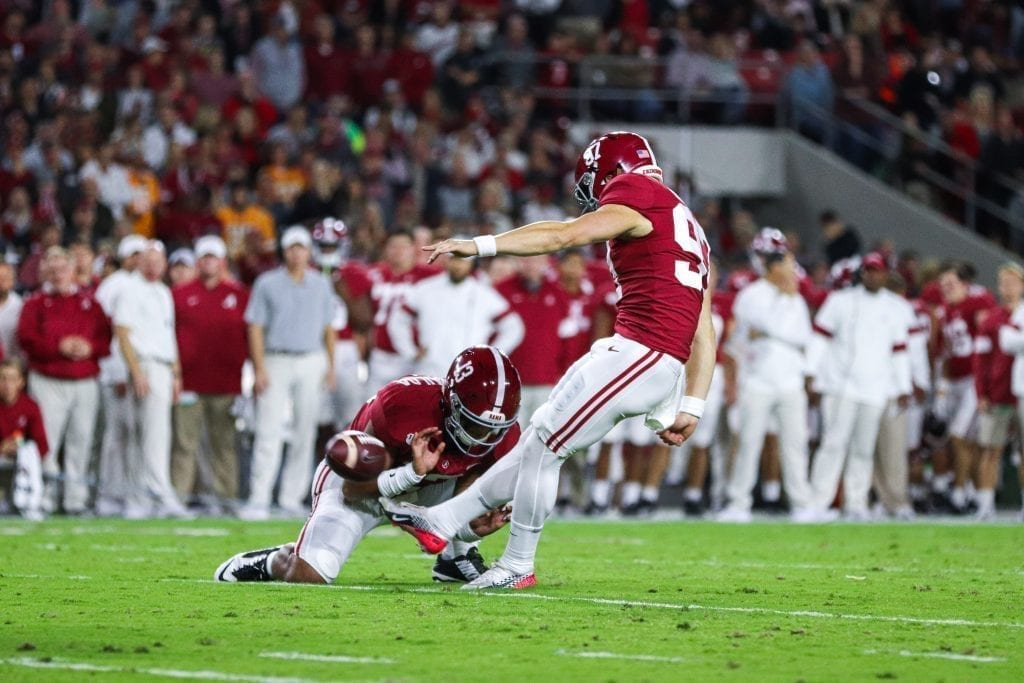 Alabama place kicker Joseph Bulovas (97) attempts a field goal when Tennessee played Alabama in Tuscaloosa on Oct. 19, 2019. Photo/ Ben Gleason