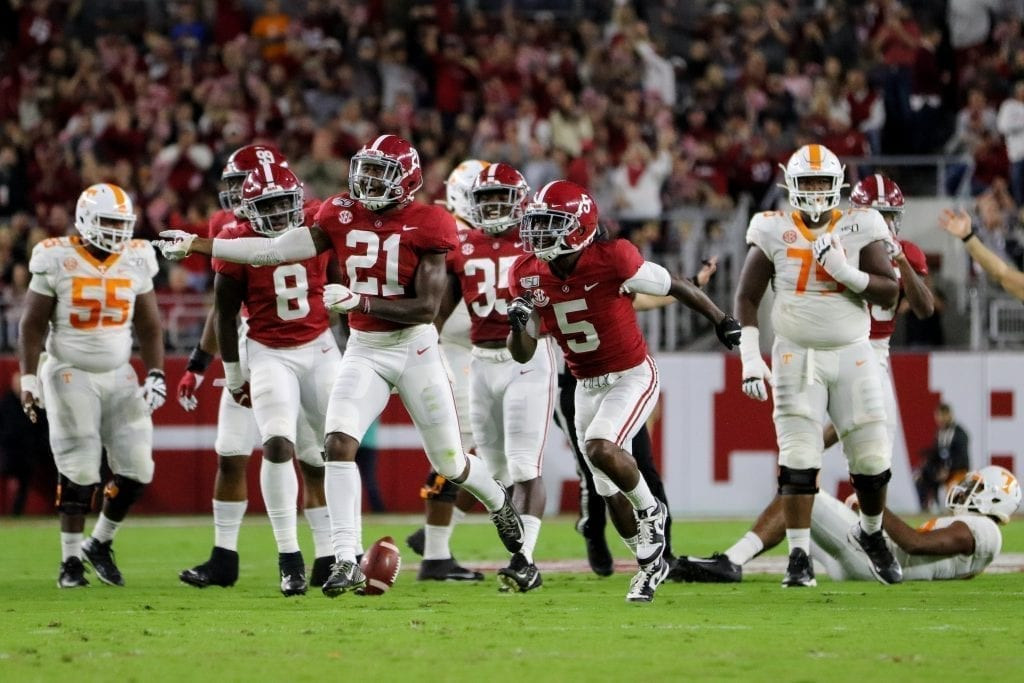 Shyheim Carter  (5) and Jared Mayden (21) celebrate a defensive stop when Tennessee played Alabama in Tuscaloosa on Oct. 19, 2019. Photo/ Ben Gleason