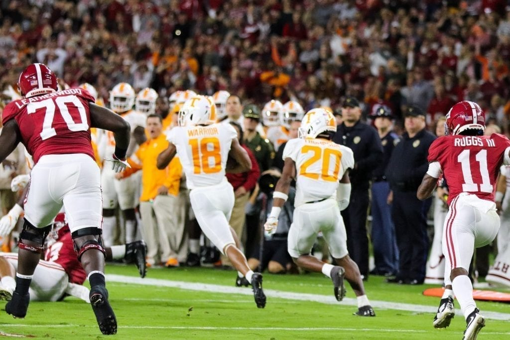 Defensive back Nigel Warrior (18) runs back an interception when Tennessee played Alabama in Tuscaloosa on Oct. 19, 2019. Photo/ Ben Gleason