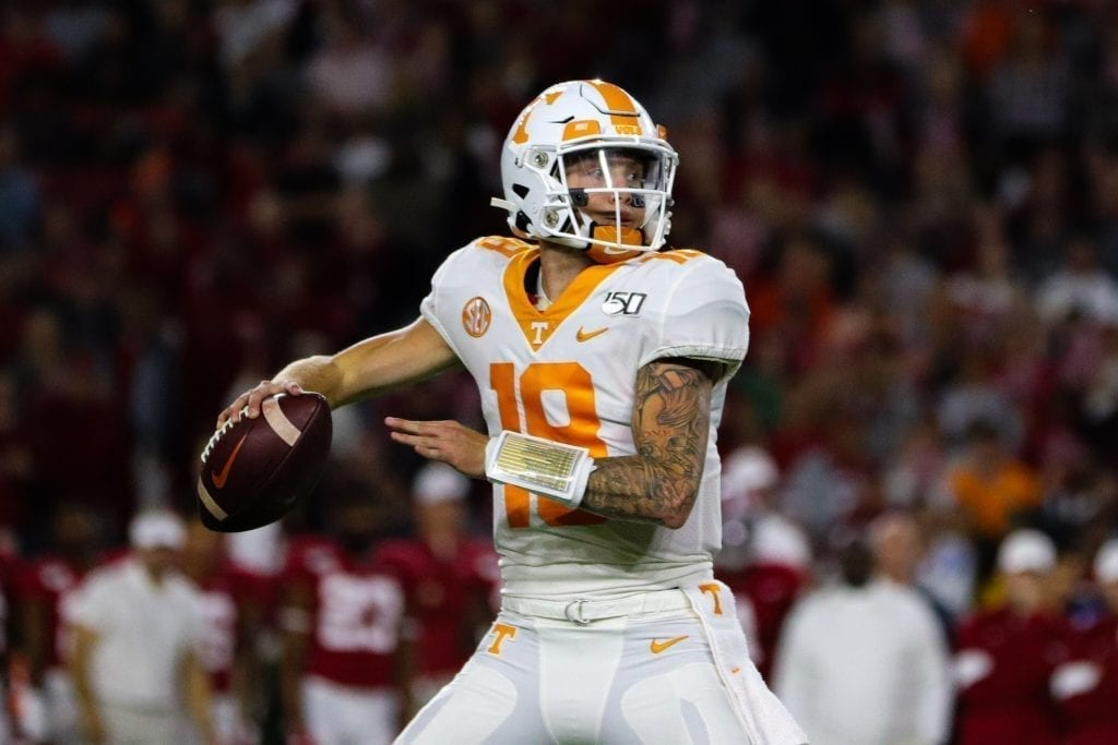 Tennessee quarterback Brian Maurer (18) reaches back to pass when Tennessee played Alabama in Tuscaloosa on Oct. 19, 2019. Photo/ Ben Gleason