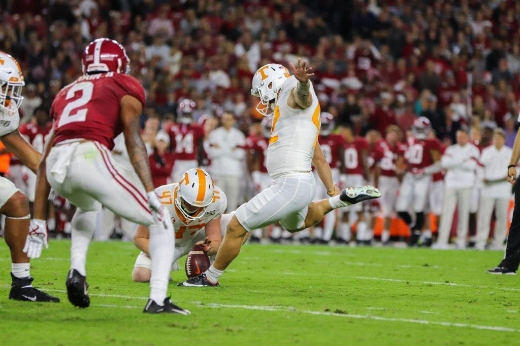 Place kicker Brent Cimaglia (42) attempts a field goal when Tennessee played Alabama in Tuscaloosa on Oct. 19, 2019. Photo/ Ben Gleason