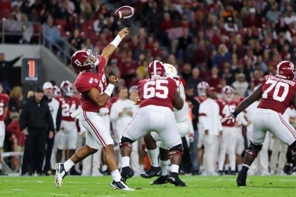Alabama quarterback Tua Tagovailoa (13) passes the ball when Tennessee played Alabama in Tuscaloosa on Oct. 19, 2019. Photo/ Ben Gleason