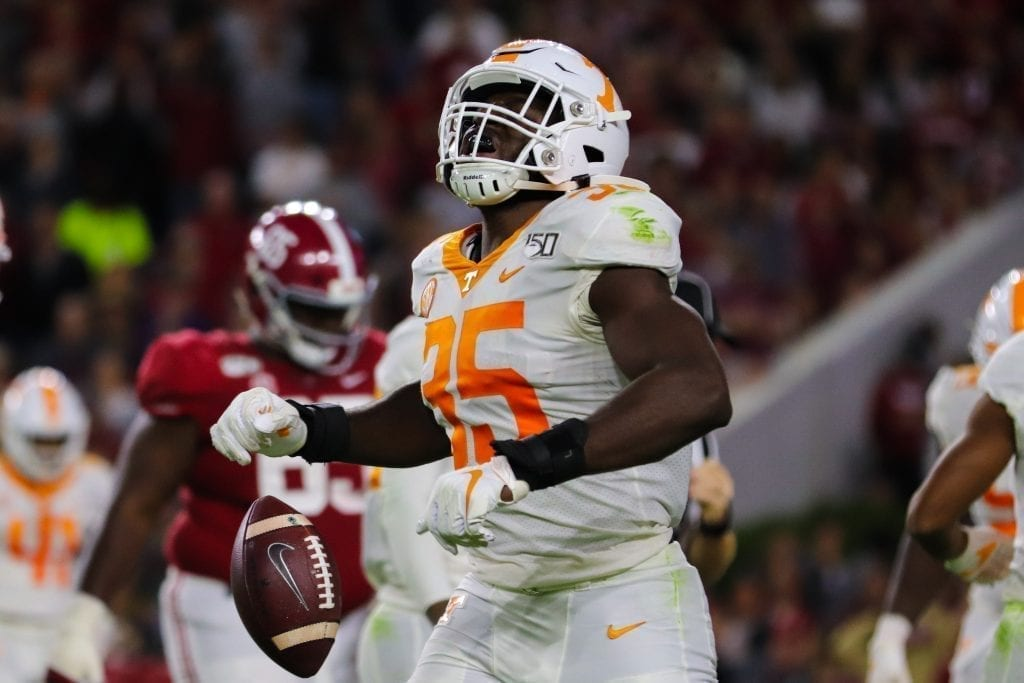 Tennessee line backer Daniel Bituli (35) after a tackle when Tennessee played Alabama in Tuscaloosa on Oct. 19, 2019. Photo/ Ben Gleason