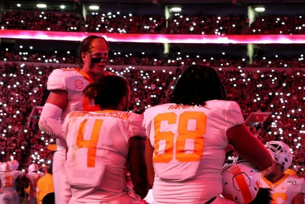 Tennessee players on the sideline of Bryant-Denny stadium when Tennessee played Alabama in Tuscaloosa on Oct. 19, 2019. Photo/ Ben Gleason