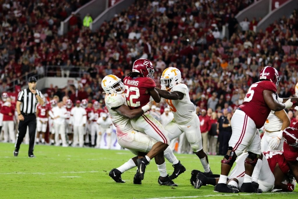 Tennessee defensive lineman Darel Middleton (97) tackles Alabama running back Najee Harris (22) when Tennessee played Alabama in Tuscaloosa on Oct. 19, 2019. Photo/ Ben Gleason
