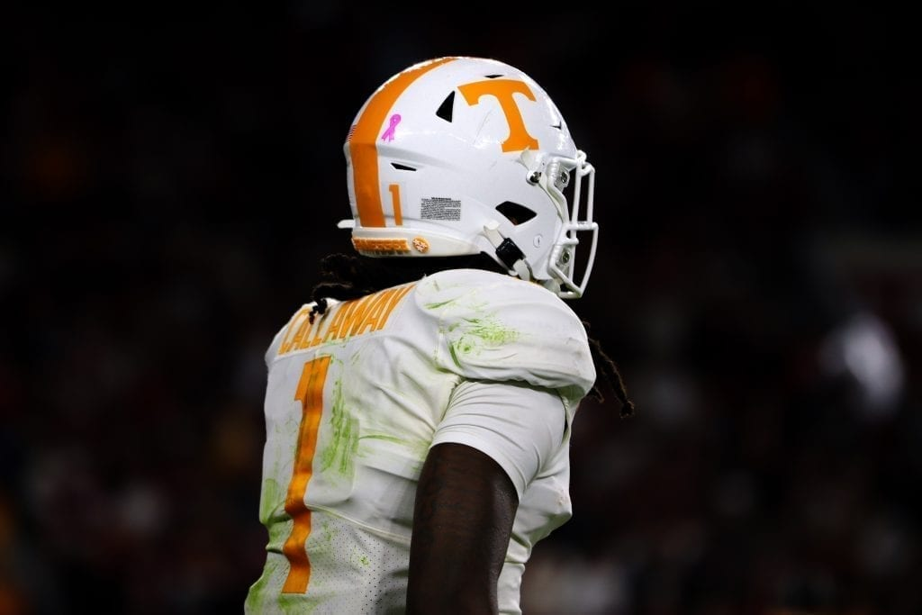 Tennessee wide receiver Marque Callaway (1) when Tennessee played Alabama in Tuscaloosa on Oct. 19, 2019. Photo/ Ben Gleason