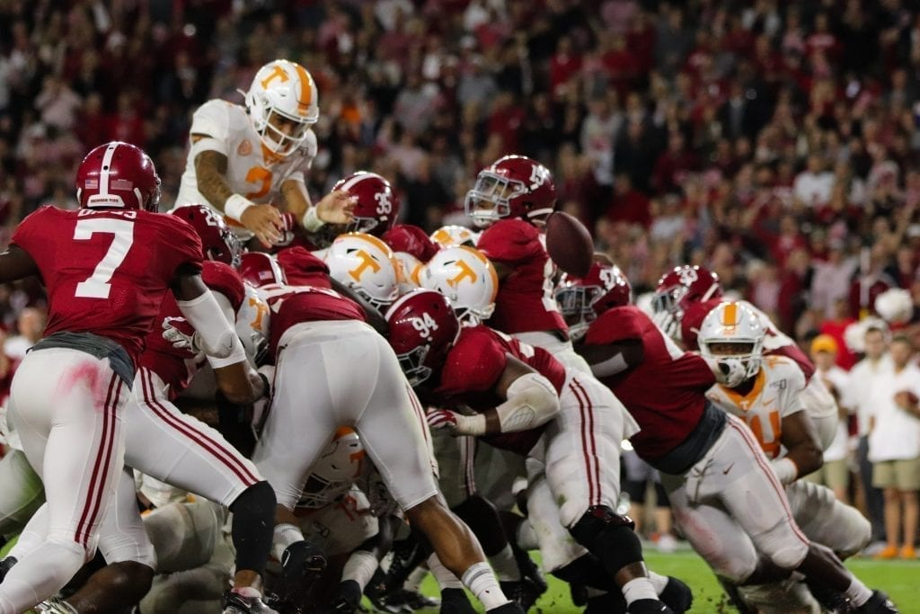Tennessee quarterback Jarrett Guarantano (2) fumbles the ball at the goal line when Tennessee played Alabama in Tuscaloosa on Oct. 19, 2019. Photo/ Ben Gleason