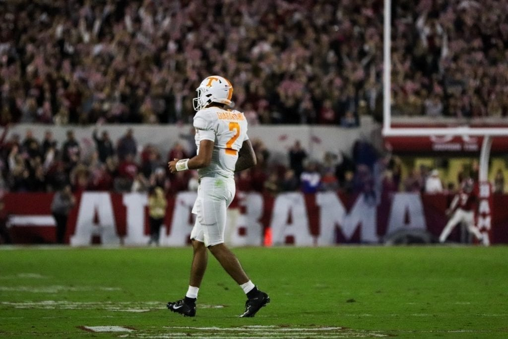 Tennessee quarterback Jarrett Guarantano jogs off the field after an Alabama touchdown when Tennessee played Alabama in Tuscaloosa on Oct. 19, 2019. Photo/ Ben Gleason