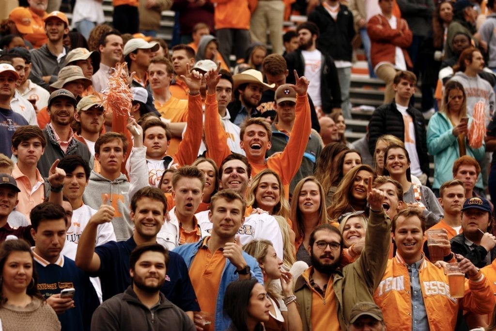 Tennessee fans cheering on the Vols when Tennessee played Mississippi State in Neyland on Oct. 12. Photo/Ben Gleason