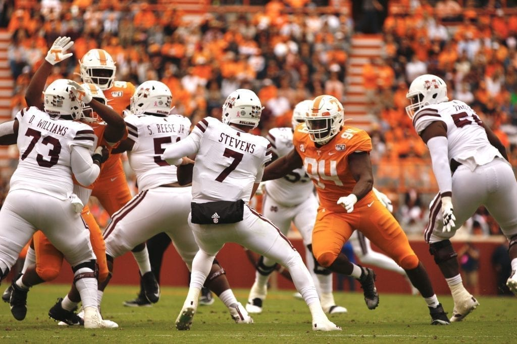 Tommy Stevens (7) drops back to pass when Tennessee played Mississippi State in Neyland on Oct. 12. Photo/Ben Gleason
