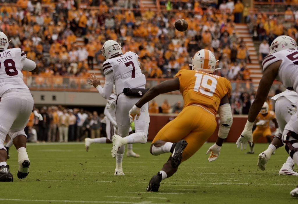 Darrell Taylor closes in on Tommy Stevens when Tennessee played Mississippi State in Neyland on Oct. 12. Photo/Ben Gleason