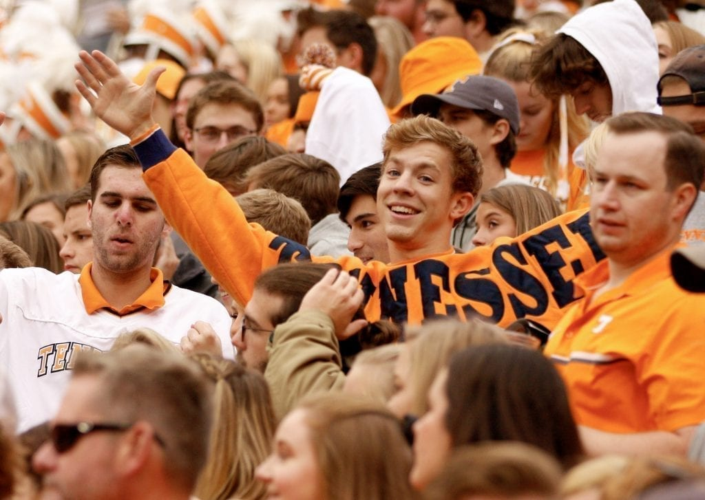 Tennessee fans cheer on the Vols when Tennessee played Mississippi State in Neyland on Oct. 12. Photo/Ben Gleason
