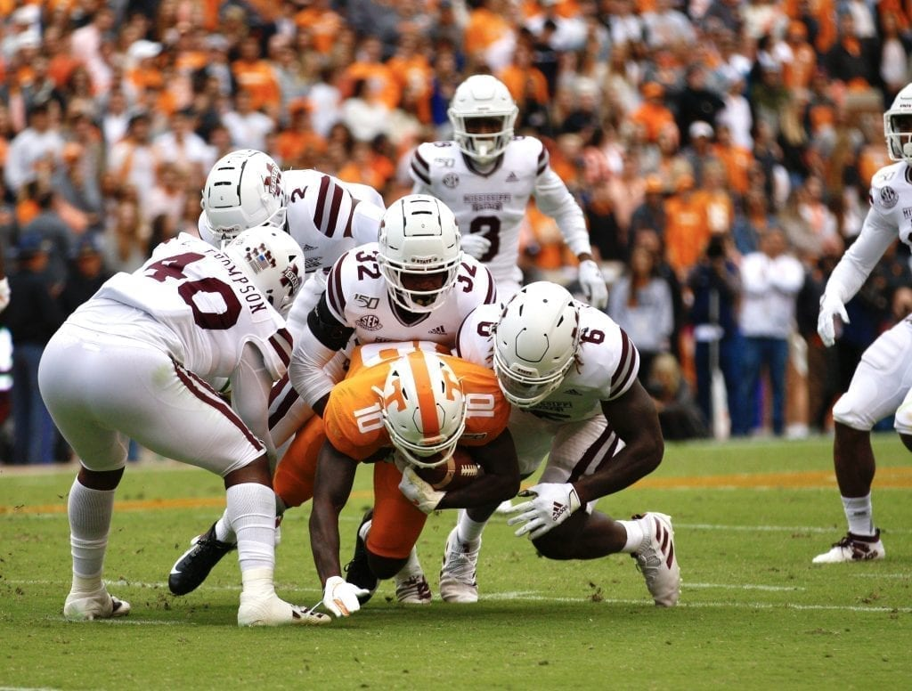 The Bulldogs bring down a Volunteer when Tennessee played Mississippi State in Neyland on Oct. 12. Photo/Ben Gleason