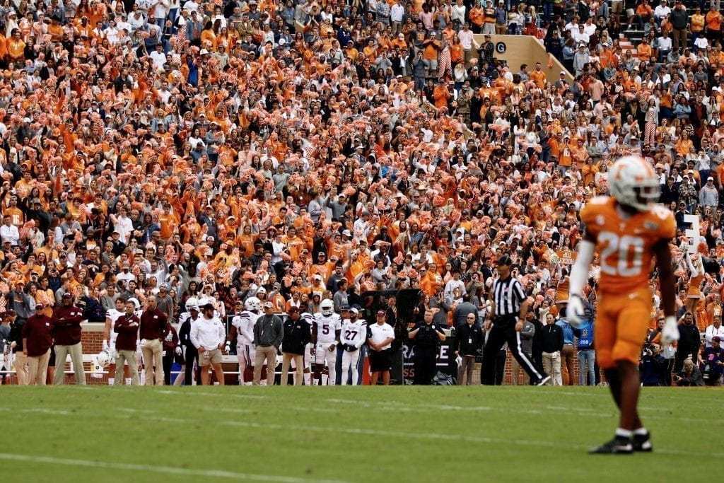 The student section looks on as Bryce Thompson walks by when Tennessee played Mississippi State in Neyland on Oct. 12. Photo/Ben Gleason