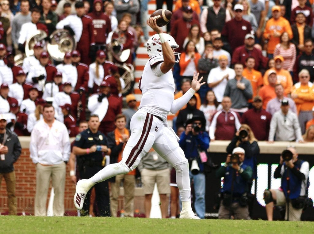 Tommy Stevens throws a pass when Tennessee played Mississippi State in Neyland on Oct. 12. Photo/Ben Gleason
