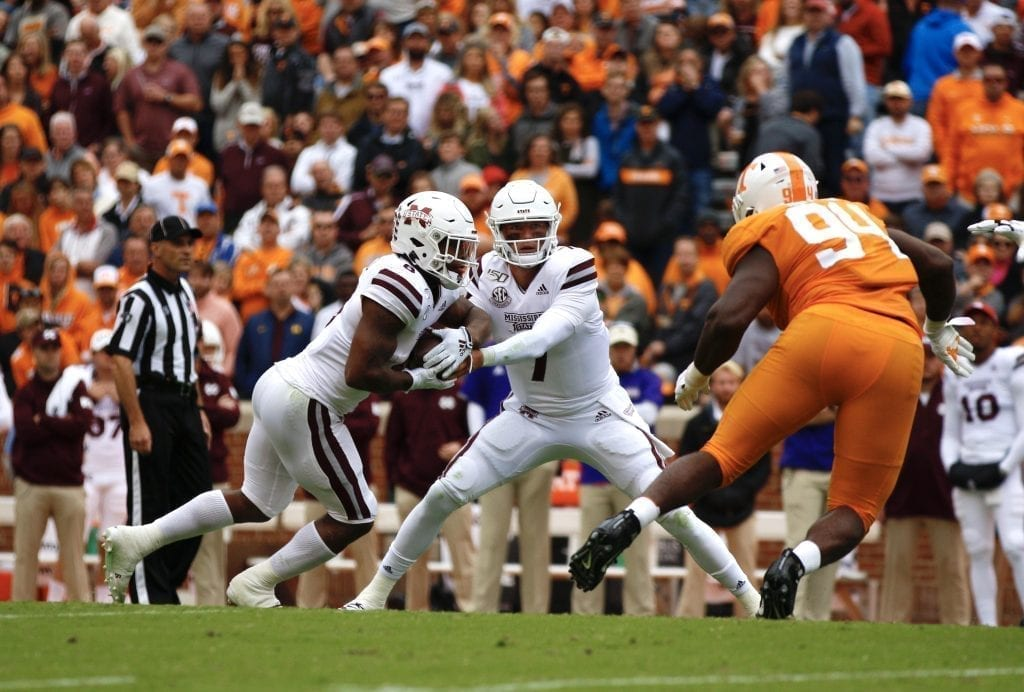 Tommy Stevens (7) hands the ball off when Tennessee played Mississippi State in Neyland on Oct. 12. Photo/Ben Gleason