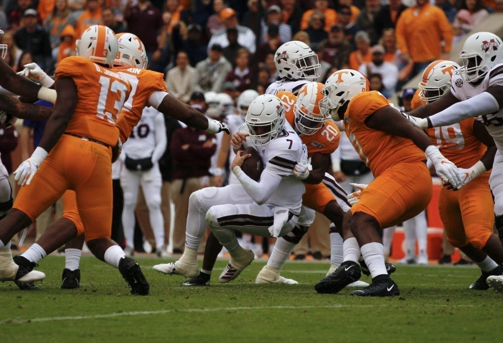 Tommy Stevens (7) is brought down when Tennessee played Mississippi State in Neyland on Oct. 12. Photo/Ben Gleason