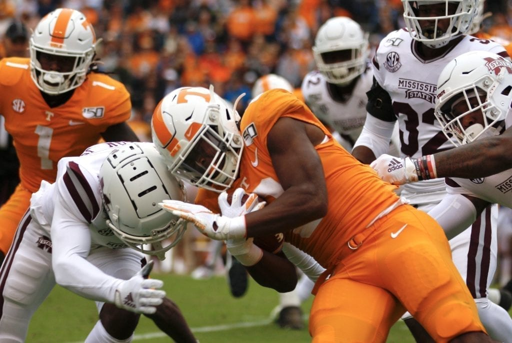 A Bulldog and a Vol collide when Tennessee played Mississippi State in Neyland on Oct. 12. Photo/Ben Gleason