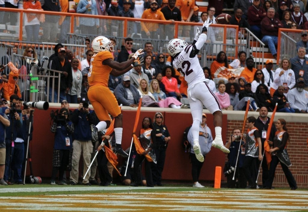 Brian Cole picks off Maurer's pass in the end zone when Tennessee played Mississippi State in Neyland on Oct. 12. Photo/Ben Gleason