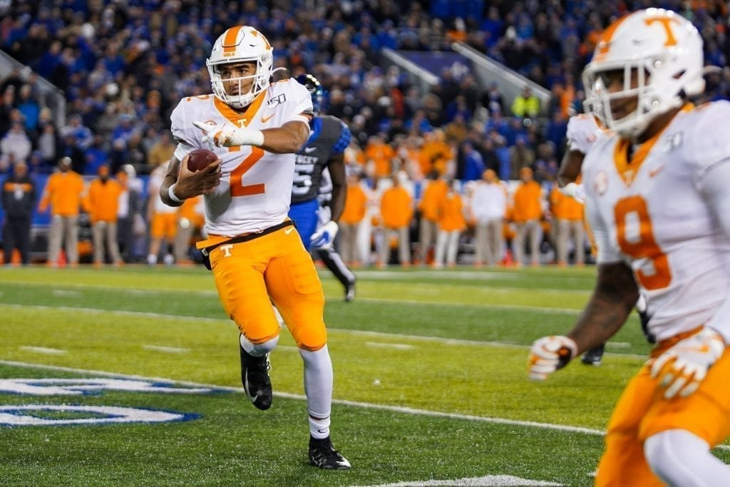 Tennessee quarterback Jarrett Guarantano (2) points for a block when Tennessee played Kentucky in Kroger Field on November 9, 2019. Photo/ Ben Gleason