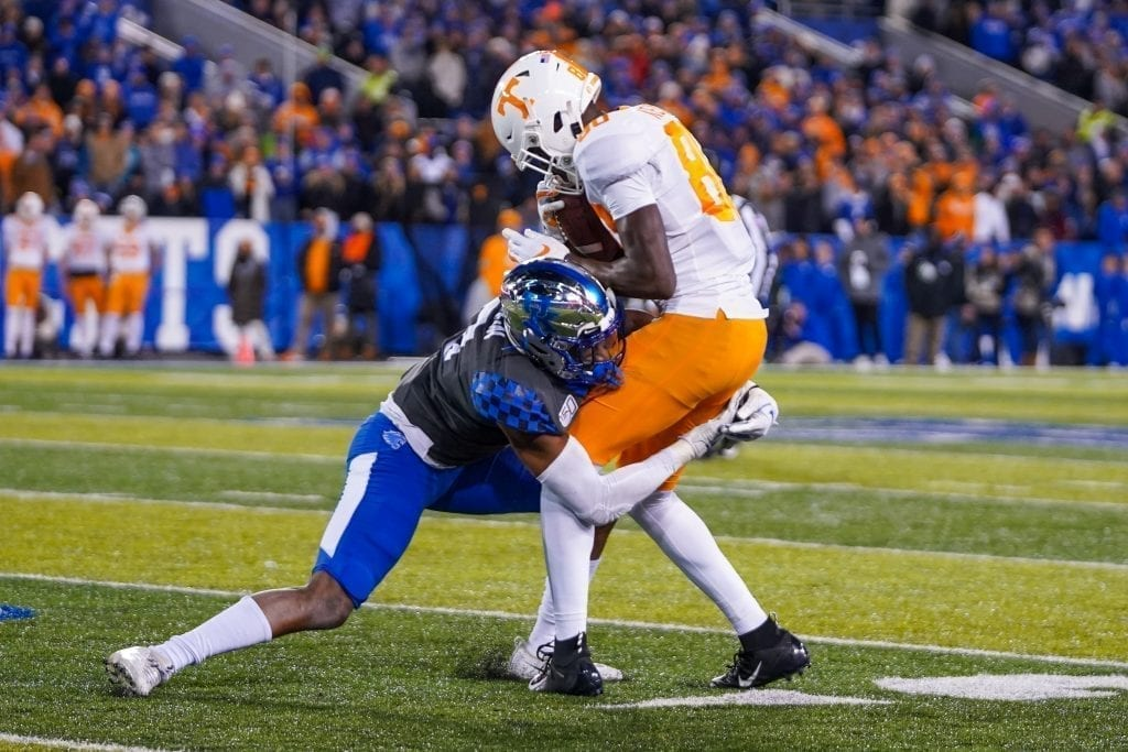 Tennessee wide receiver Ramel Keyton (80) gets tackled by a Kentucky defensive back when Tennessee played Kentucky in Kroger Field on November 9, 2019. Photo/ Ben Gleason