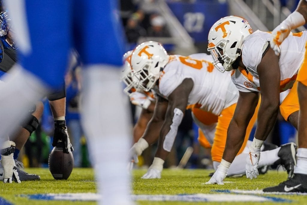Tennessee defensive linemen line up on the ball when Tennessee played Kentucky in Kroger Field on November 9, 2019. Photo/ Ben Gleason