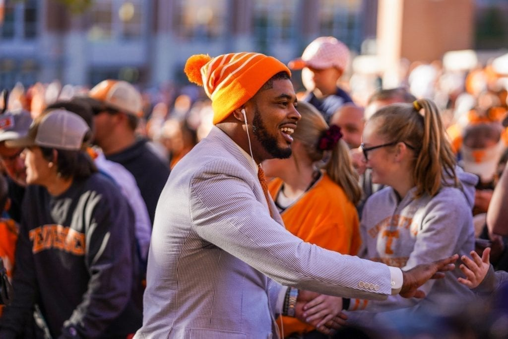 Tennessee wide receiver Jauan Jennings greets fans during the Vol Walk when Tennessee played UAB in Neyland Stadium on November 2, 2019. Photo/ Ben Gleason