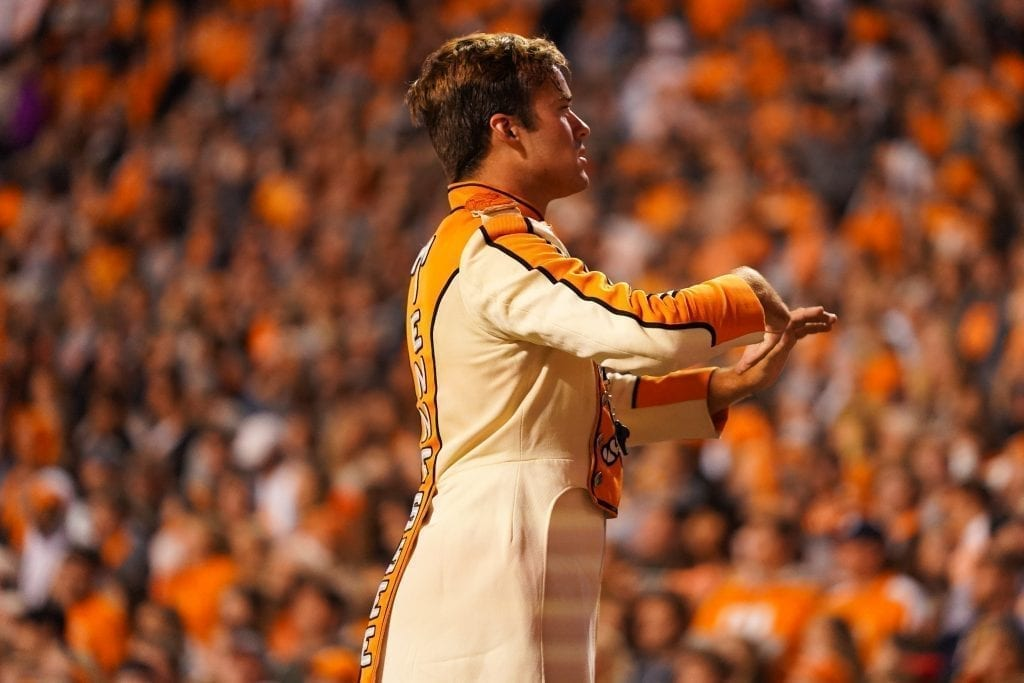 The Pride of the Southland's drum major when Tennessee played UAB in Neyland Stadium on November 2, 2019. Photo/ Ben Gleason