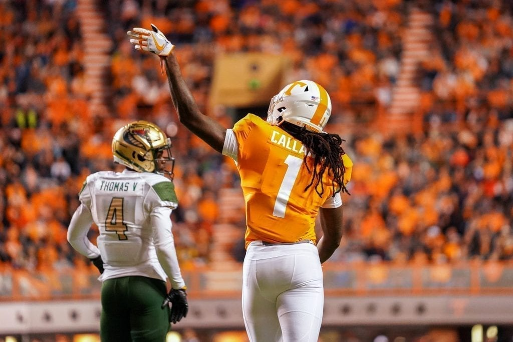 Tennessee wide receiver Marquez Callaway (1) signals for a first down when Tennessee played UAB in Neyland Stadium on November 2, 2019. Photo/ Ben Gleason