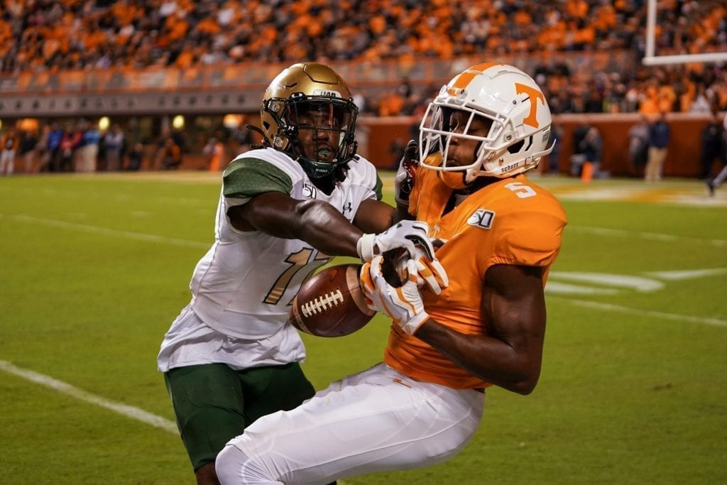 UAB defensive back Will Boler (17) breaks up a pass toward Tennessee wide receiver Josh Palmer (5) when Tennessee played UAB in Neyland Stadium on November 2, 2019. Photo/ Ben Gleason