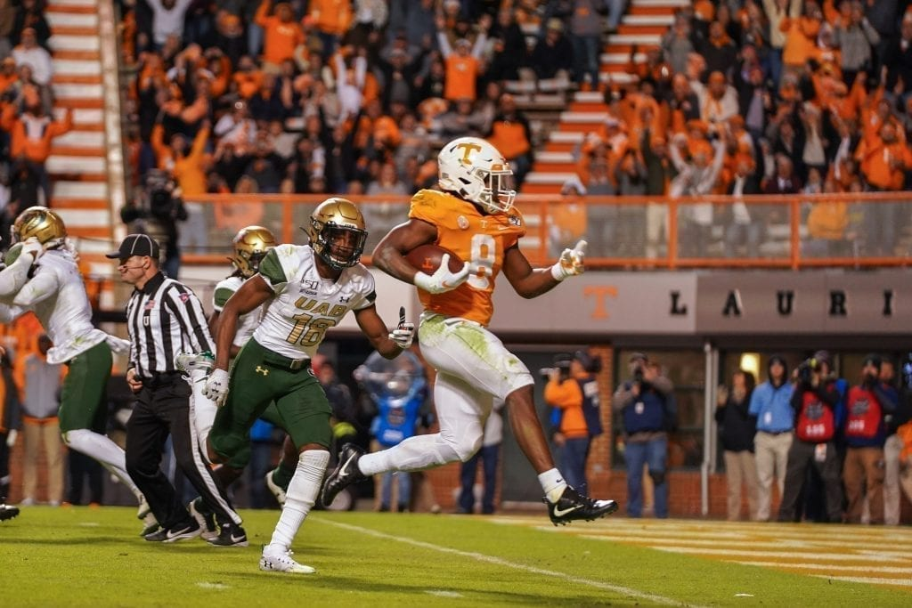Tennessee running back Ty Chandler (8) trots into the end zone when Tennessee played UAB in Neyland Stadium on November 2, 2019. Photo/ Ben Gleason