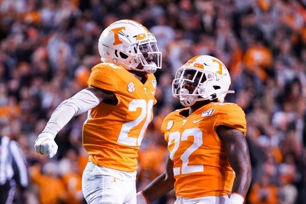 Tennessee defensive back Bryce Thompson (20) celebrates his second interception with teammate Jaylen McCollough (22) when Tennessee played UAB in Neyland Stadium on November 2, 2019. Photo/ Ben Gleason
