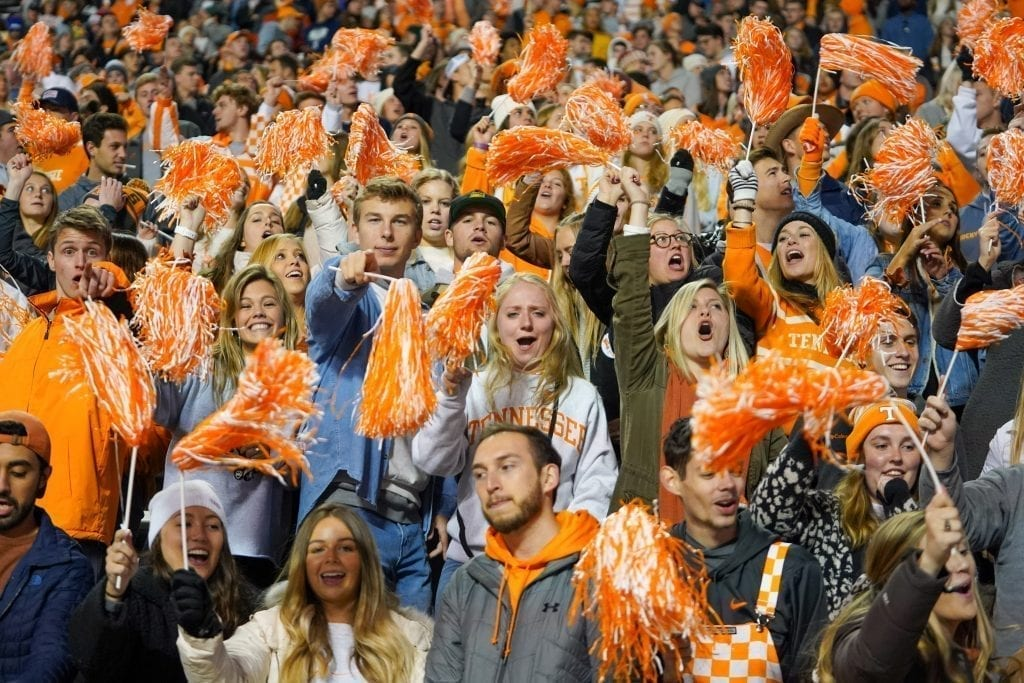 Tennessee fans cheer on the Vols when Tennessee played UAB in Neyland Stadium on November 2, 2019. Photo/ Ben Gleason