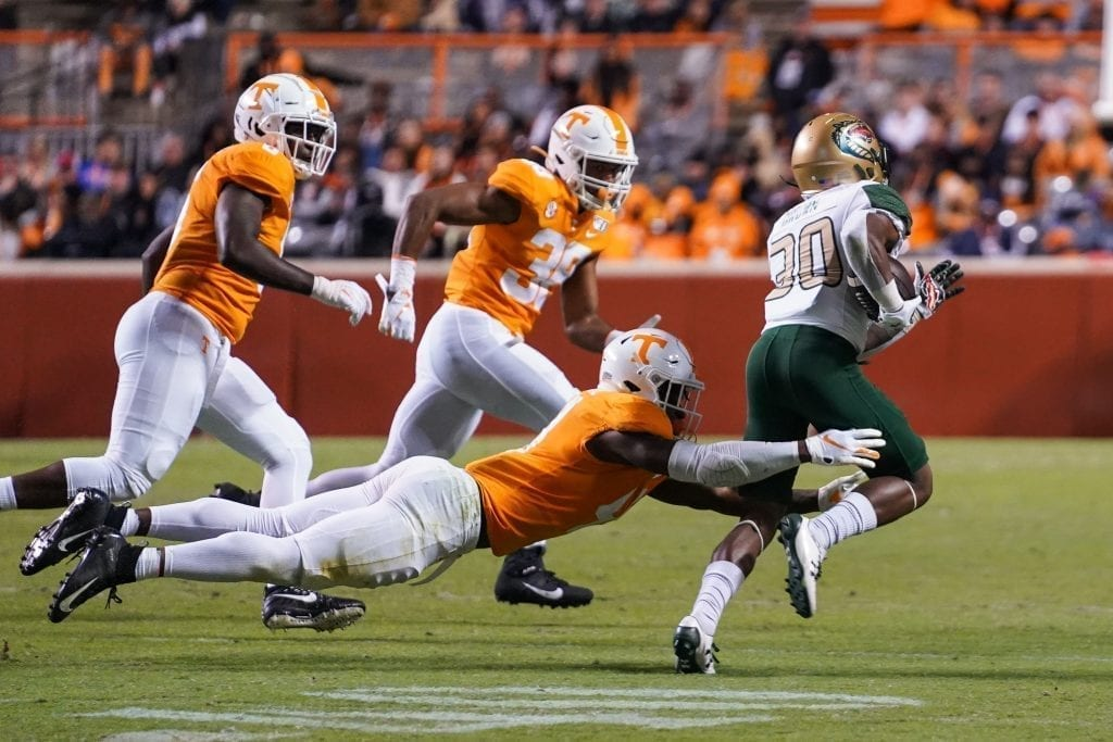 Tennessee defensive back Kenneth George Jr. (41) lays out to tackle UAB running back Kyle Harrell (30) when Tennessee played UAB in Neyland Stadium on November 2, 2019. Photo/ Ben Gleason