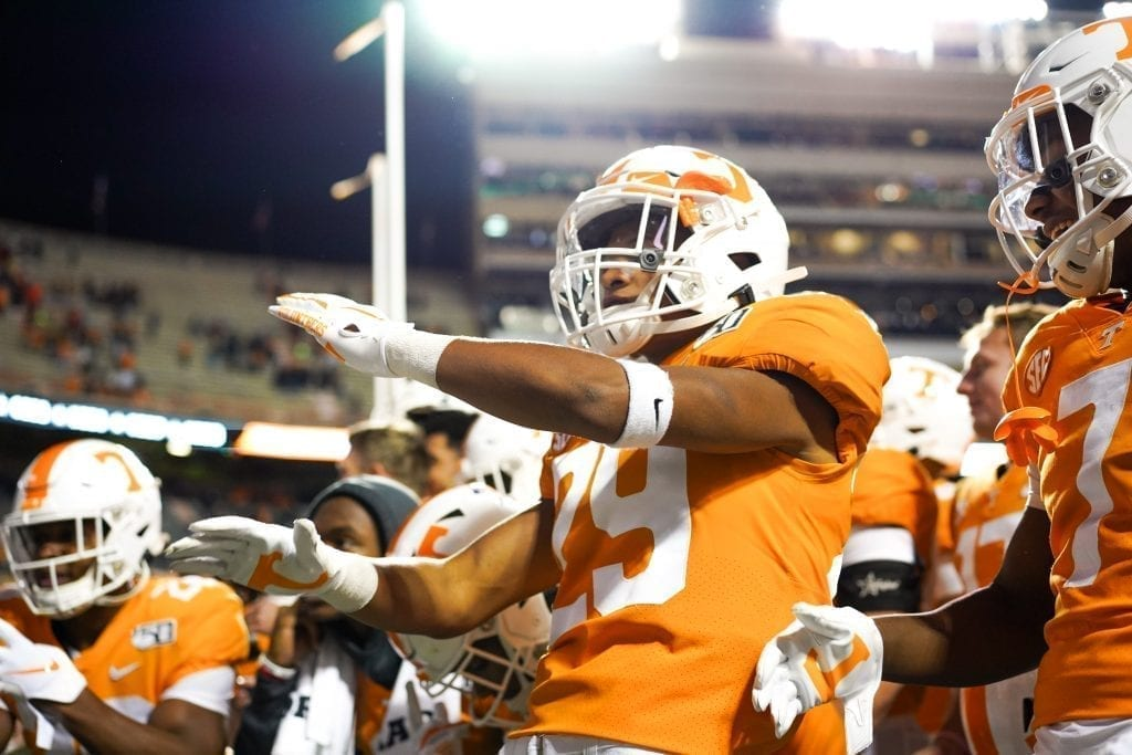 Tennessee defensive back Brandon Davis (29) celebrates a victory when Tennessee played UAB in Neyland Stadium on November 2, 2019. Photo/ Ben Gleason