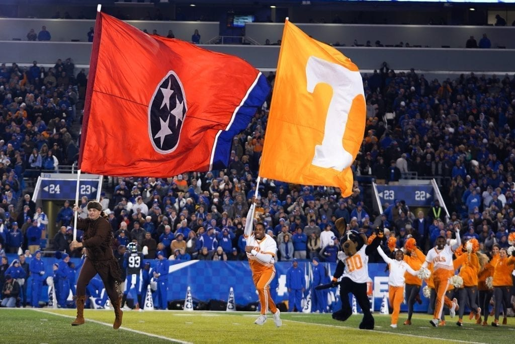 The Tennessee spirit squad running onto the field when Tennessee played Kentucky in Kroger Field on November 9, 2019. Photo/ Ben Gleason