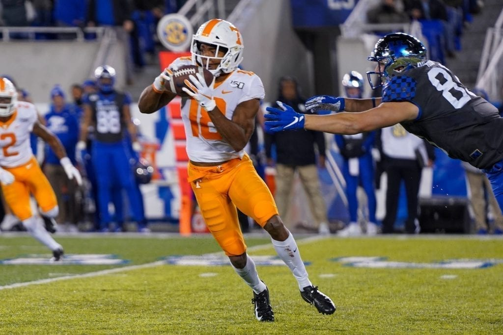 Tennessee defensive back Nigel Warrior (18) intercepts a pass when Tennessee played Kentucky in Kroger Field on November 9, 2019. Photo/ Ben Gleason